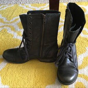 Black Leather Steve Madden Combat Boots